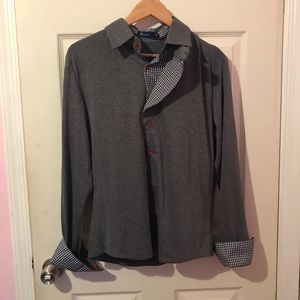 Heather gray button down collar shirt red buttons